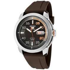 Seiko Men's SNZH71 Seiko 5 Automatic Brown Dial Brown Rubber Watch