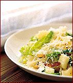 Farfalle with Savoy Cabbage, Pancetta and Mozzarella Recipe - Jamie Oliver, Naked Chef (Correction - also add the parmesan in with the mozzarella! Savoy Cabbage, Cabbage And Bacon, Farfalle Recipes, Pasta Recipes, Wine Recipes, Cooking Recipes, Healthy Recipes, Paleo Meals, Healthy Meals