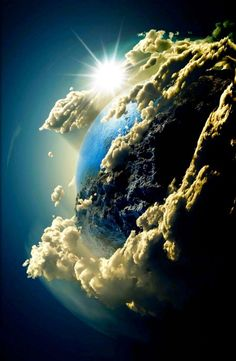 The Planets will also be hugely inspiring for my design outcome and the earth will definitely be included! This angle of the earth showing clouds and the sun is very beautiful and gives me more options in what to include in the final outcome. All Nature, Science And Nature, Amazing Nature, Life Science, Cosmos, To Infinity And Beyond, Belle Photo, Mother Earth, Beautiful World