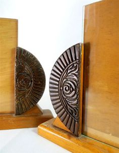 Art Deco Pair Carved Wooden Demi-Lune Photo Picture Frames 1930s - Ebay £19.95