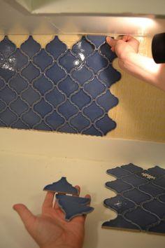 DIY backsplash installation. From Home Depot