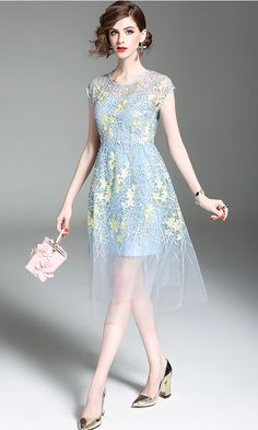 Light Blue Embroidered Floral Swing Midi Dress