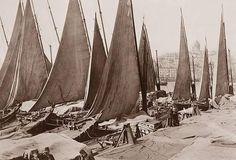 Eminönü yemiş iskelesi kıyısında yelkenliler. 1900'ler başı.