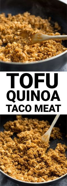 Vegan Tofu Quinoa Taco Meat: A vegan taco meat replacement! It's naturally gluten free and is ready in about 10 minutes! || fooduzzi.com recipe