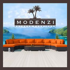 MODENZI Modern Patio Wicker Set Outdoor Sectional Sofa Furniture Couch Chair for sale online