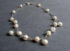 Bubbly Necklace - Asymmetrical sterling silver and ivory freshwater pearl necklace, modern bridal necklace, bridesmaid necklaces, custom colors available.