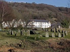 The Rocking stone surrounded by Druids stone circle, The Common, Pontypridd, South Wales