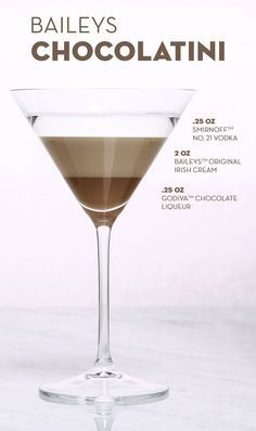 Pour 2 oz Baileys™ The Original Irish Cream Liqueur, oz Smirnoff™ No. 21 Vodka, oz Godiva™ Chocolate Liqueur, and ice into a shaker. Give it a good shake until you've got a smooth liquid. Strain into a martini glass and add a chocolate garnish Fancy Drinks, Bar Drinks, Cocktail Drinks, Yummy Drinks, Beverages, Dessert Drinks, Christmas Drinks, Holiday Drinks, Winter Cocktails