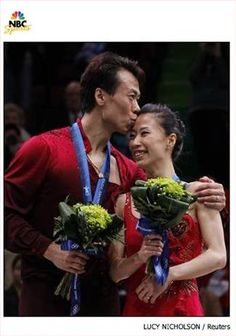 Xue Shen and Hongbo Zhao win China's first Olympic gold medal in figure skating. My favorite pairs team, I've followed them since 1998. I was crying as hard as Xue was when the scores came up.