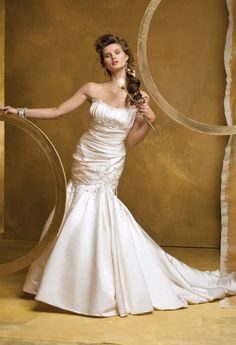 Strapless Satin Mermaid Wedding Dress with Lace Up from Camille La Vie and Group USA