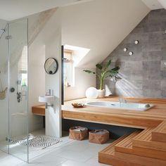 Un espace spa sous les combles. – A spa area under the eaves. Jacuzzi Bathroom, Dyi Bathroom, Tranquil Bathroom, White Bathroom, Modern Bathroom, Bathroom Interior Design, Dream Rooms, House Rooms, Bathroom Inspiration