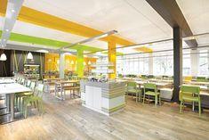 Grasslands Cafeteria, Edinburgh Zoo, by 442 Design Cafeteria Design, Charlton House, Catering Design, Hall Flooring, Interior Design Awards, Hall Design, Lunch Room, Commercial Design, Office Interiors