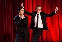 """Ylvis is a Norwegian comedy duo from Bergen, consisting of brothers Bård and Vegard Ylvisåker. They debuted as professional variety artists in 2000 and have since had a string of very successful variety shows, humoristic concerts, TV shows, radio shows and music videos. Their song """"The Fox"""" went viral on YouTube in September 2013, bringing the brothers to international attention."""