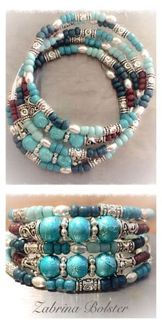 11/5/16 Zabrina Bolster handmade jewelry- Blue Glass and Silver memory wire bracelet