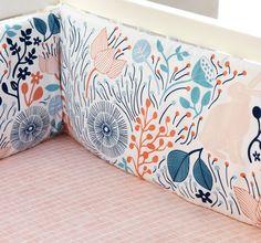 DwellStudio Dwell Studio Meadow Powder Blue Bumper with Peach Ties - NWT #DwellStudio