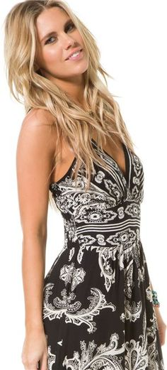 ANGIE PATTERNED V NECK MAXI DRESS http://www.swell.com/Womens-Dresses/ANGIE-PATTERNED-V-NECK-MAXI-DRESS-2?cs=BW#