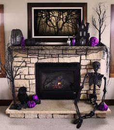 Halloween is about getting spooked. And that usually means you require scary Halloween decorations. Halloween offers an opportunity to pull out all the decorating stop. So get ready to spook up your home with some spooky Halloween home decor ideas below. Halloween Living Room, Halloween Fireplace, Halloween Trees, Halloween Home Decor, Holidays Halloween, Halloween Crafts, Fireplace Mantel, Purple Halloween Decorations, Halloween Party