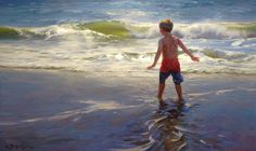 """Kathleen B. Hudson on Instagram: """"""""When my son beheld the sea"""" oil on linen, 24 x 40 in. My first portrait of Samuel, who was two last summer when he fell in love with the…"""" Air Festival, Water Art, Ship Art, Museum Of Fine Arts, Art Pictures, State Parks, Coastal, Ocean, Landscape"""