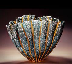 "Mel Munsen: 'Bol ondulé' (2011). Fused and slumped glass murrini, 9"" x 13"" x 10"""