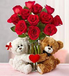 Valentine's Day flower arrangement with teddy bears. Valentine Flower Arrangements, Basket Flower Arrangements, Valentines Flowers, Valentine Decorations, Happy Valentines Day, Valentine Gifts, Floral Arrangements, Valentines Anime, Valentine Nails