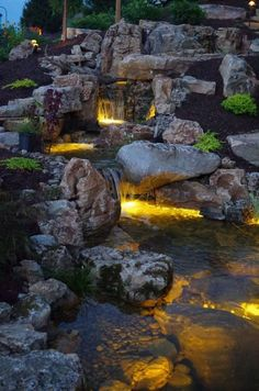 Innovative DIY Backyard Waterfall Ideas To Beautify Your Home Garden 26 Waterfall Landscaping, Garden Waterfall, Pond Landscaping, Landscaping With Rocks, Backyard Water Feature, Ponds Backyard, Backyard Waterfalls, Garden Ponds, Koi Ponds