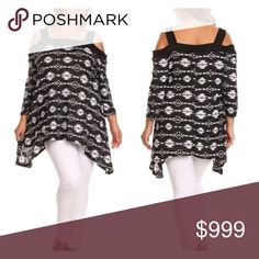 """(Plus) B/W cold shoulder top 96% rayon/ 4% spandex. Bust stretches beyond measurements. Slightly oversized- I am a 2x and the 1x fits me.  1x: Measures 33"""" at shortest point, 43"""" at longest, and has a 46"""" bust.  2x: Measures 34"""" at shortest point, 44"""" at longest, and has a 47"""" bust.  3x: Measures 35"""" at shortest point, 45"""" at longest, and has a 48"""" bust.  Availability: 1x•2x•3x • 2•2•2 ⭐️This item is BNWOT. Boutique tags added on request.  🚫NO TRADES 💲Price is firm unless bundled 💰Ask…"""