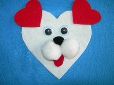 Dog magnet ~ possibly alter ears to brown or black and a floppy shape Valentine Crafts For Kids, Valentines Day Activities, Valentine's Day Crafts For Kids, Daycare Crafts, Holiday Crafts, Puppy Valentines, Valentines Art, Funny Valentine, Puppy Crafts