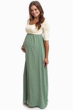 Sage-Chiffon-Colorblock-Maternity-Maxi-Dress