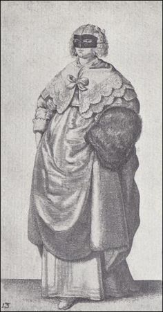 23-12-11  Drawings by Wenceslaus Hollar, circa 1645  English Women's Dress of the 17th Century - Wenceslas Hollar Engravings    Image 13 - Lady With Mask And Muff