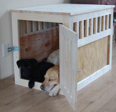 DIY Furniture : DIY Large Wood Pet Kennel End Table