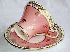 Aynsley Teacup and Saucer Pattern Pink 1934 - 1939 Vintage Dishware, Vintage Dishes, Tea Cup Saucer, Tea Cups, Tea Riffic, Tea Pot Set, Porcelain Mugs, Mug Cup, Tea Time
