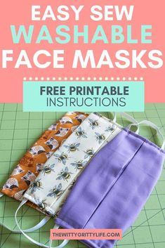 During times of shortage, the CDC recommended type of mask may not be available. Learn how to sew your own washable face masks with removable inserts for your family. Stay healthy and safe! Small Sewing Projects, Sewing Projects For Beginners, Sewing Hacks, Sewing Tutorials, Sewing Tips, Diy Projects, Dress Tutorials, Sewing Ideas, Easy Face Masks