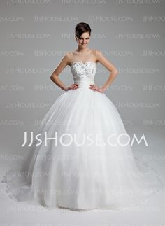 Ball-Gown Sweetheart Court Train Satin Tulle Wedding Dresses With Ruffle Lace Beadwork (002011973) - JJsHouse