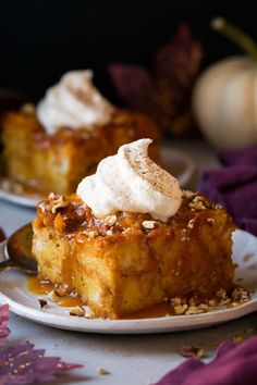 This pumpkin bread pudding is one of the best fall desserts around! Topped with salted caramel sauce, whipped cream and pecans. Everyone will love this!