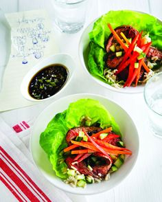 Beef Lettuce Wraps--Beef is not the star, but is one of many elements included in these tasty wraps.