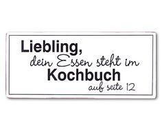 Wandschild Kochbuch, 31 x 13 cm