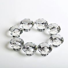 8PCS 40MM Clear Crystal Glass Diamond Cut Door Knobs Kitchen Cabinet Drawer knobs+Screw Home Decorating