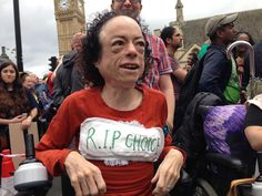 Liz Carr with her incontinence pad. #EndAusterityNow