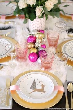 White & Pink Christmas Table Setting + $100 GC Giveaway - Celebrations at Home #flatlay #flatlays #flatlayapp www.flat-lay.com