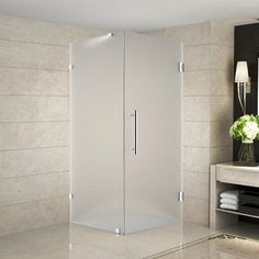 "Aston Aquadica 34"" x 34"" x 72"" Completely Frameless Square Hinged Shower Enclosure, Frosted Glass Finish: Chrome"