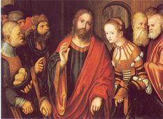 LUCAS CRANACH (1472 - 1553) | Christ and the adulteress- 1520.