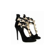 Pre-owned Giuseppe Zanotti Black And Gold Sandals ($1,025) ❤ liked on Polyvore featuring shoes, sandals, black gold sandals, giuseppe zanotti sandals, giuseppe zanotti shoes, pre owned shoes and suede leather shoes