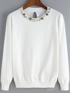 Suéter cuello redondo abalorio-(Sheinside)