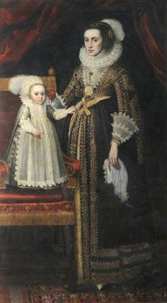 Portrait of an unknown woman and child, stype of Paulus van Somer the Elder, oil on canvas, c. 1610.  National Trust inventory no. 1422014