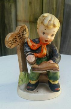 "Vintage SHOESHINE BOY FIGURINE ~ Hummel Style NAPCOWARE #AH1K ""Boot Black"" #Napco"