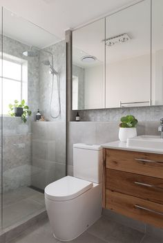 Small Bathroom Renovations 506866133061334745 - bathroom after. Walk in shower Carrara marble tiles concrete tiles. Condo Bathroom, Small Space Bathroom, Concrete Bathroom, Tiny Bathrooms, Bathroom Layout, Modern Bathroom Design, Bathroom Interior Design, Bathroom Storage, Concrete Tiles