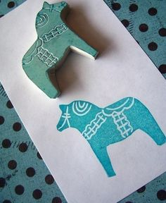 Tiny Ingemar Swedish Horse Rubber Stamp by Corrabelle on Etsy