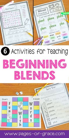 Are you looking for some fun ideas and activities for teaching phonics? This phonics practice packet has 6 activities for beginning blends word work. There are 2 worksheets and a fun game for each blend. These are great for small groups, literacy centers, guided reading, independent work, and homeschool. Appropriate for advanced preschool, kindergarten, and first grade. My kids love learning blends with these activities! Click on the picture to see a complete preview and description.