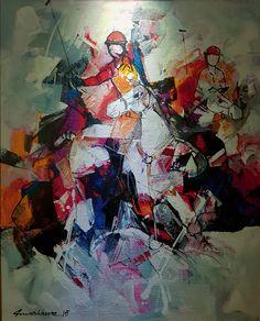 Oil on Canvas by Mashkoor Raza, the most prolific painter of Pakistan