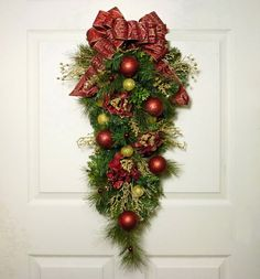 Burgundy and Gold Christmas Door Swag Christmas by Floralwoods
